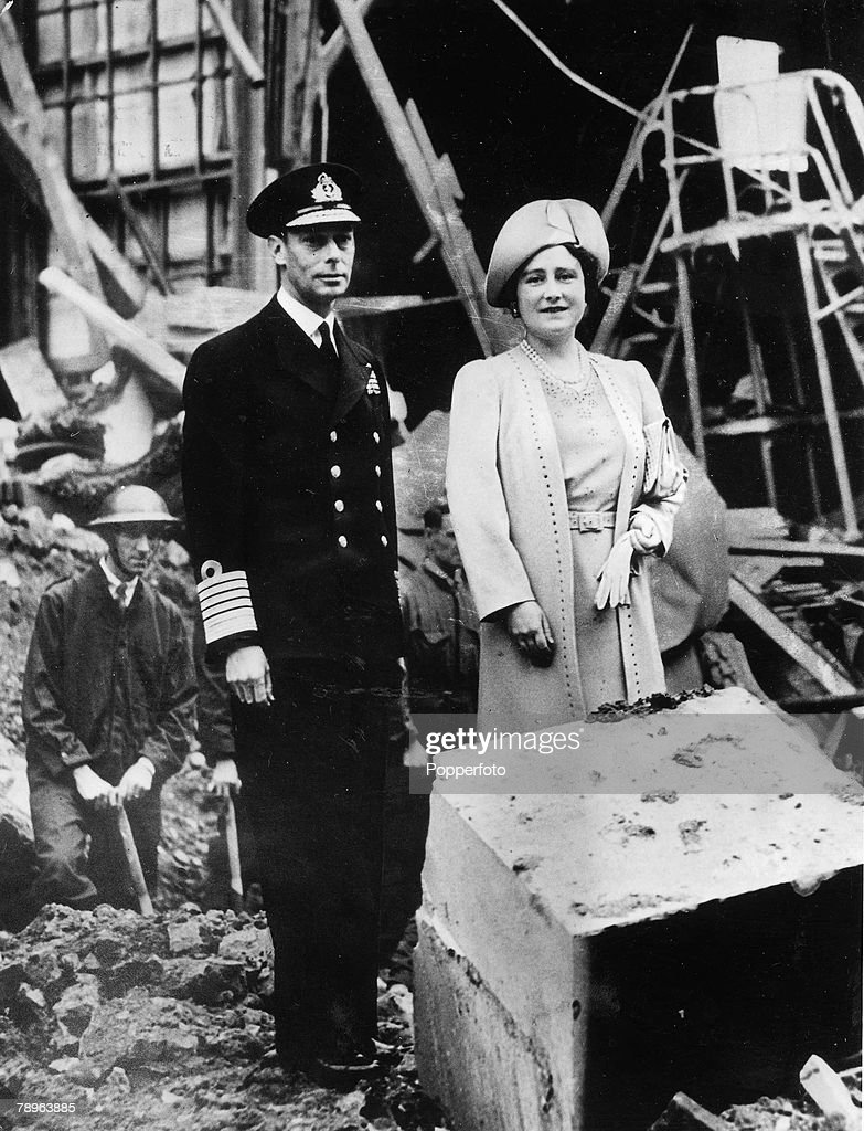 London, England, 1940, King George VI and Queen Elizabeth (later the Queen Mother) inspecting the bomb damage to Buckingham Palace after a heavy Nazi air raid over the nation's capital during the Battle of Britain in World War Two