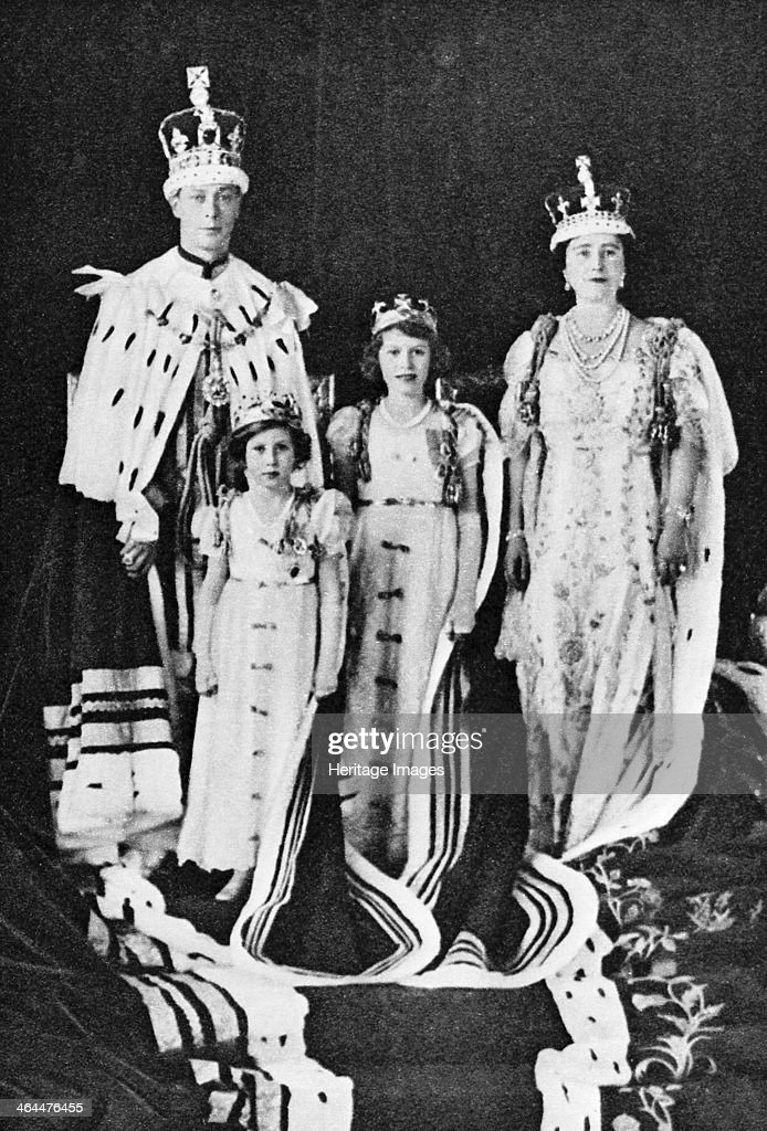 King George VI and Queen Elizabeth on their Coronation Day 1937 with Princess Elizabeth and Princess Margaret