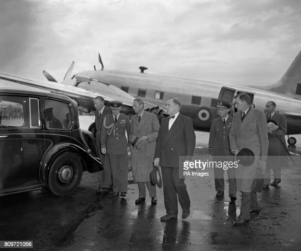 King George VI arriving at Heathrow Airport after flying from Dyce Airport Aberdeen in a Viking Aircraft of the King's Flight The King had curtailed...