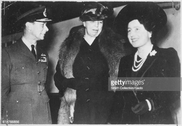 King George VI Eleanor Roosevelt and Queen Elizabeth in London England October 23 1942