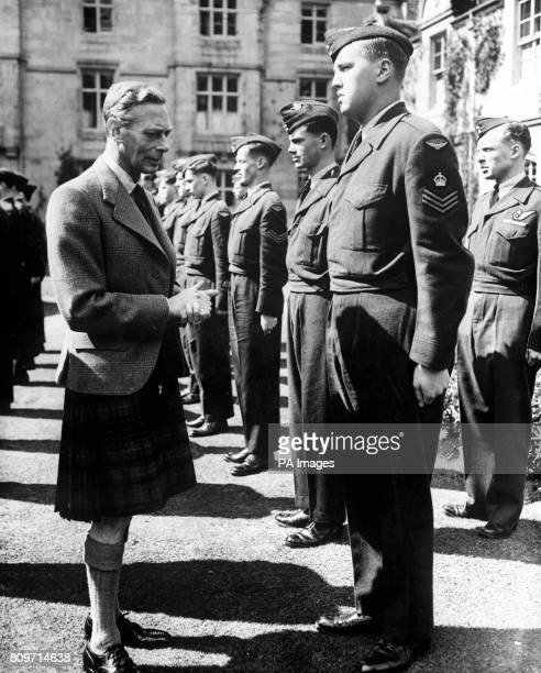 King George VI meeting Canadian Air Cadets at Balmoral Scotland