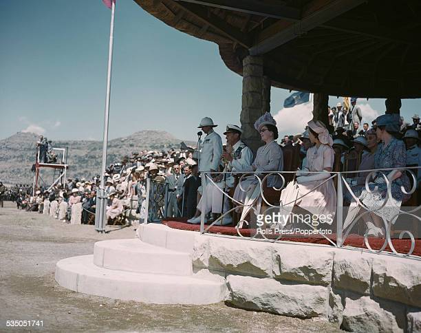 King George VI Queen Elizabeth and Princess Elizabeth of the United Kingdom pictured together on a dias during the Royal tour of South Africa in 1947