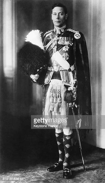 King George VI wearing the uniform of colonel in chief of the Cameron Highlanders in London United Kingdom on May 6 1938