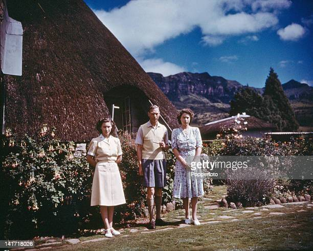 King George VI with Princesses Margaret and Elizabeth at the Natal National Park during the Royal Tour of South Africa 22nd March 1947