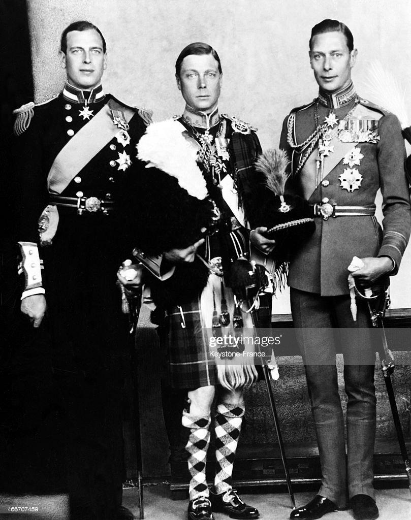King George V's sons Prince George aka future George VI navy lieutenant Edward VIII prince of Wales air vice marshall and prince Henry Duke of...