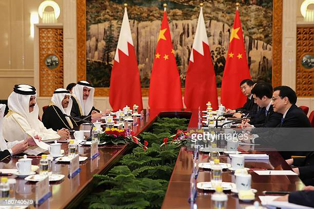 King Hamad Bin Isa Al Khalifa of Bahrain meets with Chinese Premier Li Keqiang at the Great Hall of People on September 16 2013 in Beijing China At...