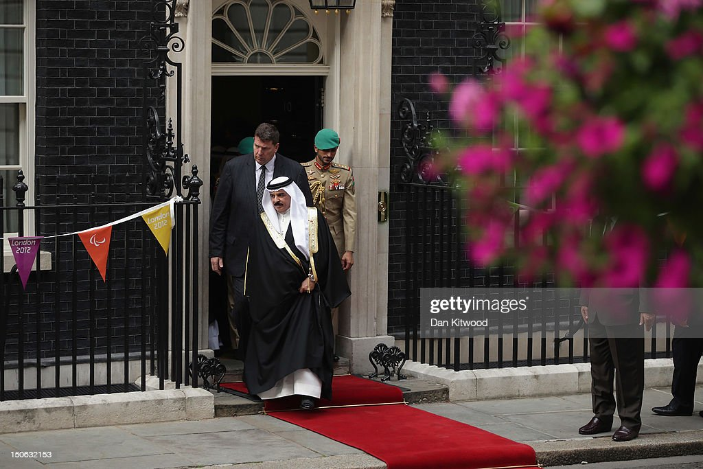 King Hamad bin Isa al-Khalifa of Bahrain leaves 10 Downing Street after a meeting with British Prime Minister <a gi-track='captionPersonalityLinkClicked' href=/galleries/search?phrase=David+Cameron+-+Politician&family=editorial&specificpeople=227076 ng-click='$event.stopPropagation()'>David Cameron</a> on August 23, 2012 in London, England.
