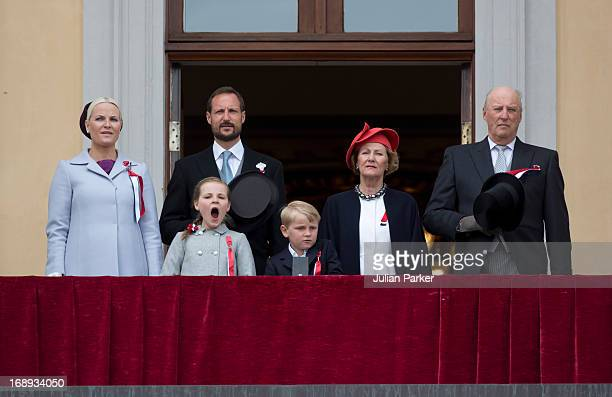 King Harald and Queen Sonja Crown Prince Haakon Crown Princess MetteMarit of Norway Prince Sverre Magnus and Princess Ingrid Alexandra watch the...