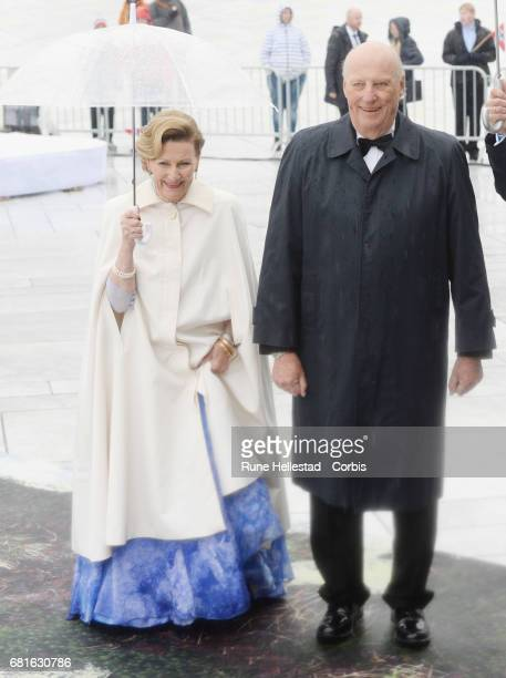King Harald and Queen Sonja of Norway are seen arriving at the Opera House on the occasion of the celebration of King Harald and Queen Sonja of...