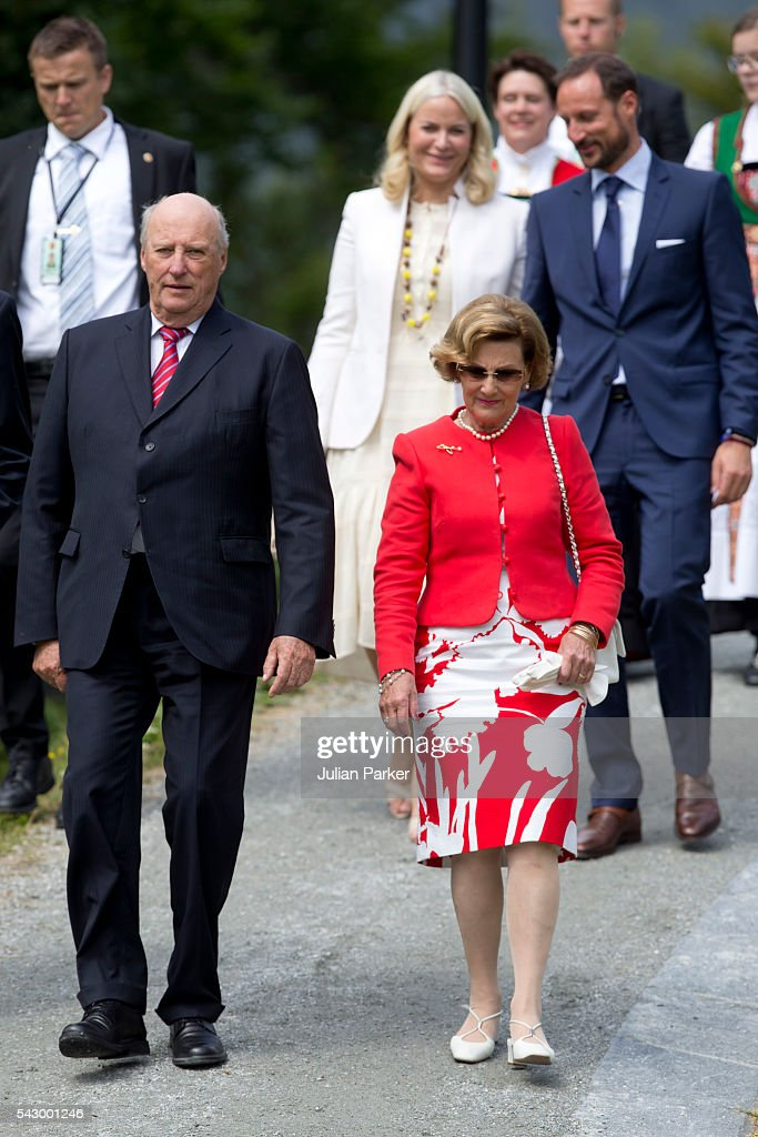 King Harald, and Queen Sonja of Norway, Crown Princess Mette-Marit, and Crown Prince Haakon of Norway attend a Garden Party at the Royal Residence of Gamlehaugen, on a visit to Bergen, during the King and Queen of Norway's Silver Jubilee Tour, on June 25, 2016 in Bergen, Norway.