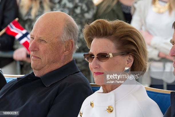 King Harald and Queen Sonja of Norway during a visit to the Municipality of Hitra on the first day of a three day visit to the county of Sor...