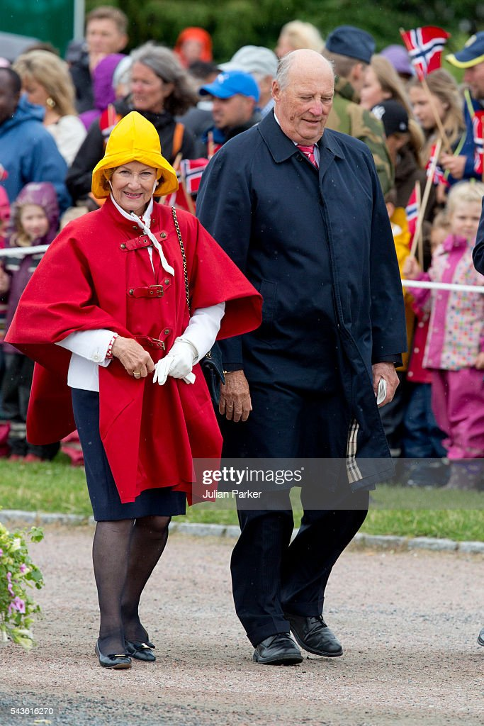 King Harald, and <a gi-track='captionPersonalityLinkClicked' href=/galleries/search?phrase=Queen+Sonja+of+Norway&family=editorial&specificpeople=160334 ng-click='$event.stopPropagation()'>Queen Sonja of Norway</a>, on a visit to Kristiansand, during the King and Queen of Norway's Silver Jubilee Tour, on June 29, 2016 in Kristiansand, Norway.