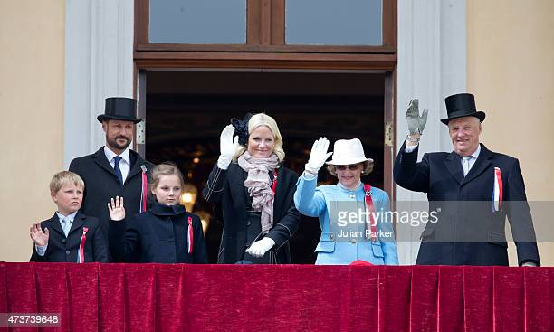 King Harald and Queen Sonja of Norway with Crown Prince Haakon of Norway and Crown Princess MetteMarit of Norway with Princess Ingrid Alexandra and...