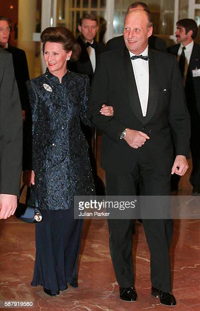 King Harald and Queen Sonja of Norwayattend a Ballet performance at The Muziek Theater in Amsterdam as part of The 60th Birthday Celebrations of...