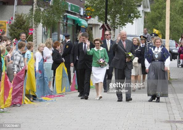 King Harald and Queen Sonja of Norwayon the last day of a three day visit to the county of Sor Trondelag in the municipality of Afjord on June 6 2013...