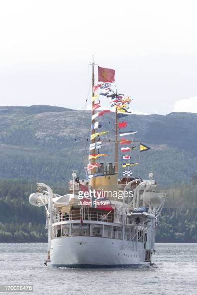King Harald and Queen Sonja of Norwayon the last day of a three day visit to the county of Sor Trondelag in the municipality of Afjord the Royal...