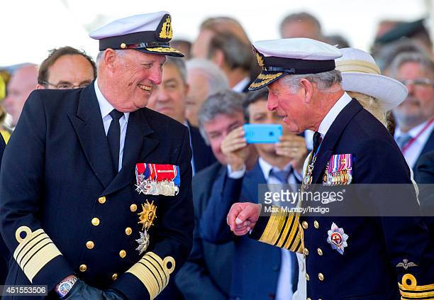 King Harald of Norway and Prince Charles Prince of Wales attend the International Ceremony at Sword Beach to commemorate the 70th anniversary of the...