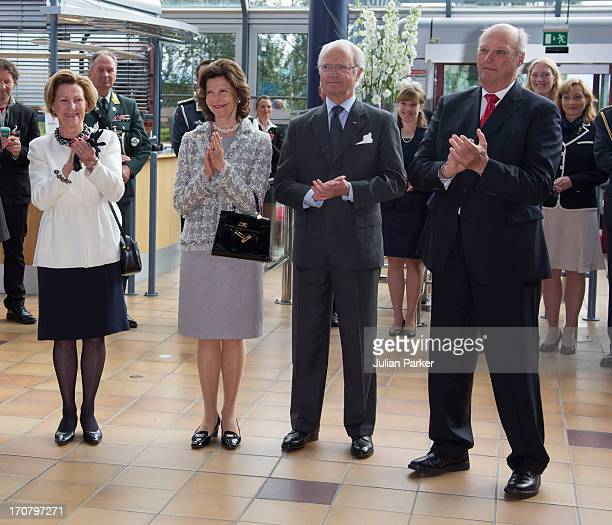 King Harald of Norway and Queen Sonja of Norway host an official visit from King Carl Gustaf of Sweden and and Queen Silvia of Sweden as they visit...