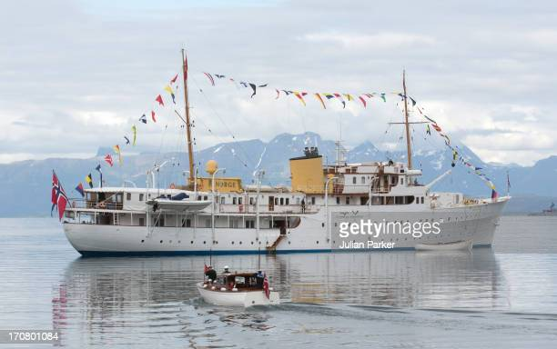King Harald of Norway and Queen Sonja of Norway return to the Royal Yacht KS Norge after visiting Harstad during King Carl Gustaf and Queen Silvia Of...