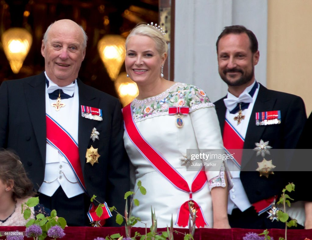 King Harald of Norway, Crown Princess Mette-Marit of Norway, and Crown Prince Haakon of Norway, attend an official Gala dinner at the Royal Palace, in Oslo, as part of The Celebrations of the 80th Birthdays of King Harald and Queen Sonja of Norway. on May 9, 2017 in Oslo, Norway.