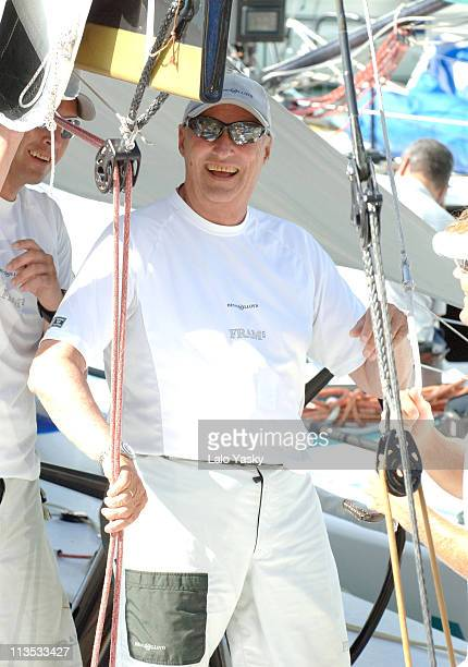 King Harald of Norway during King Harald of Norway on Board of the 'Fram' During the First Day of the Breitling Sailing Trophy in Mallorca July 20...