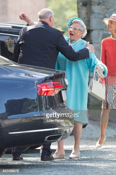 King Harald of Norway greets his sister Princess Astrid at a service at Nidaros Cathedral on a visit to Trondheim during the King and Queen of...