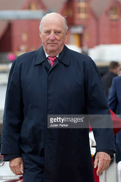 King Harald of Norway on a visit to Kristiansand during the King and Queen of Norway's Silver Jubilee Tour on June 29 2016 in Kristiansand Norway