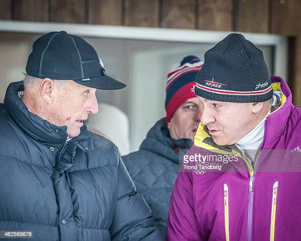 King Harald of Norway with General Secretary NIF Inge Andersen attend the Men 30 km Skiatlon during the Norwegian Championship Cross Country on...