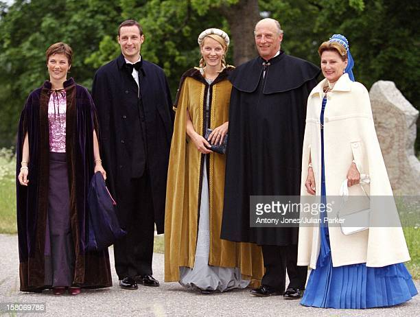 King Harald Queen Sonja Crown Prince Haakon Crown Princess MetteMarit Princess Martha Louise Of Norway Attend A Performance At Gripsholm Castle...