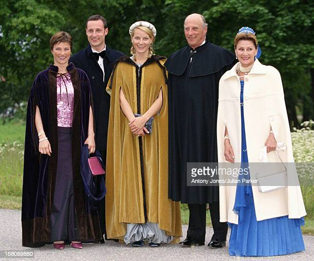 King Harald Queen Sonja Crown Prince Haakon Crown Princess MetteMarit And Princess Martha Louise Of Norway Attend A Performance At Gripsholm Castle...
