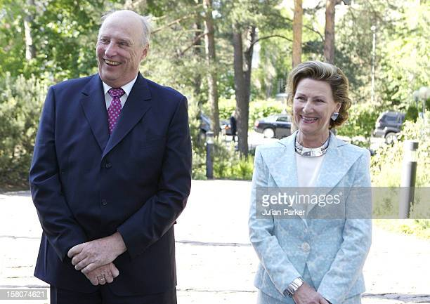 King Harald Queen Sonja Of Norway State Visit To FinlandPress Meeting At The Guest House In Helsinki