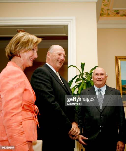 King Harald V and Queen Sonja of Norway meet with FW De Klerk at the Table Bay Hotel during their State Visit on November 25 2009 in Cape Town South...