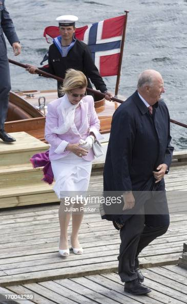 King Harald V and Queen Sonja of Norway on the last day of a three day visit to the county of Sor Trondelag visit the municipality of Bjugn on June 6...