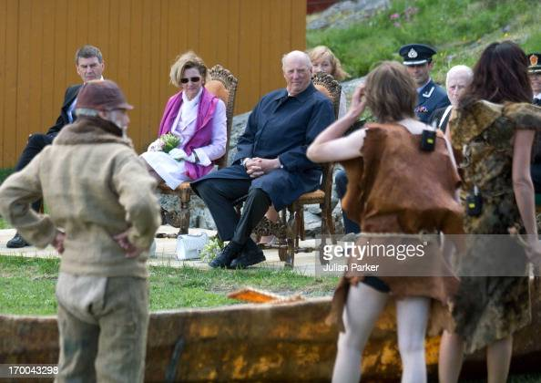King Harald V and Queen Sonja of Norway on the last day of a three day visit to the county of Sor Trondelag watch a short play during their visit to...