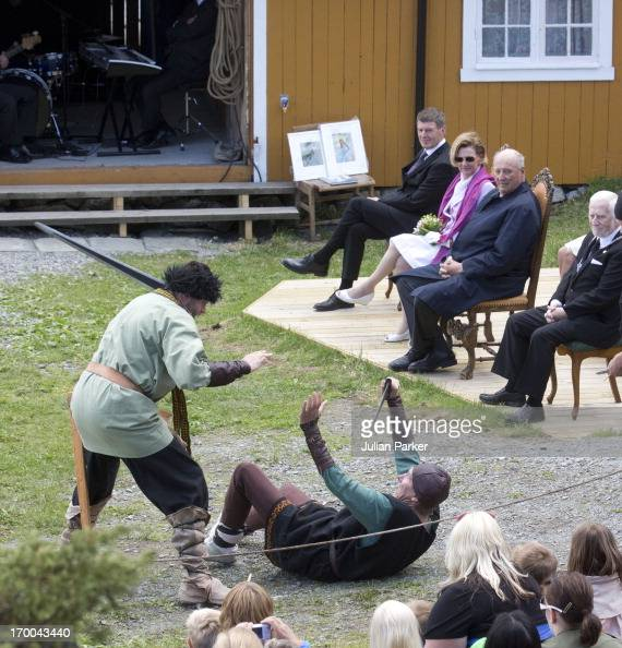 King Harald V and Queen Sonja of Norway on the last day of a three day visit to the county of Sor Trondelag watch ja short play during their visit to...