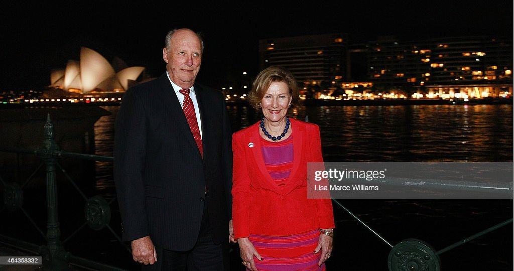 King Harald V and Queen Sonja of Norway pose at Circular Quay after attending the Museum of Contemporary Art, Foundation Hall where Queen Sonja's art work is on show on February 25, 2015 in Sydney, Australia. The royal couple are in Australia for six days and will attend events in Canberra, Sydney and Perth.