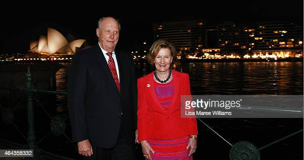 King Harald V and Queen Sonja of Norway pose at Circular Quay after attending the Museum of Contemporary Art Foundation Hall where Queen Sonja's art...