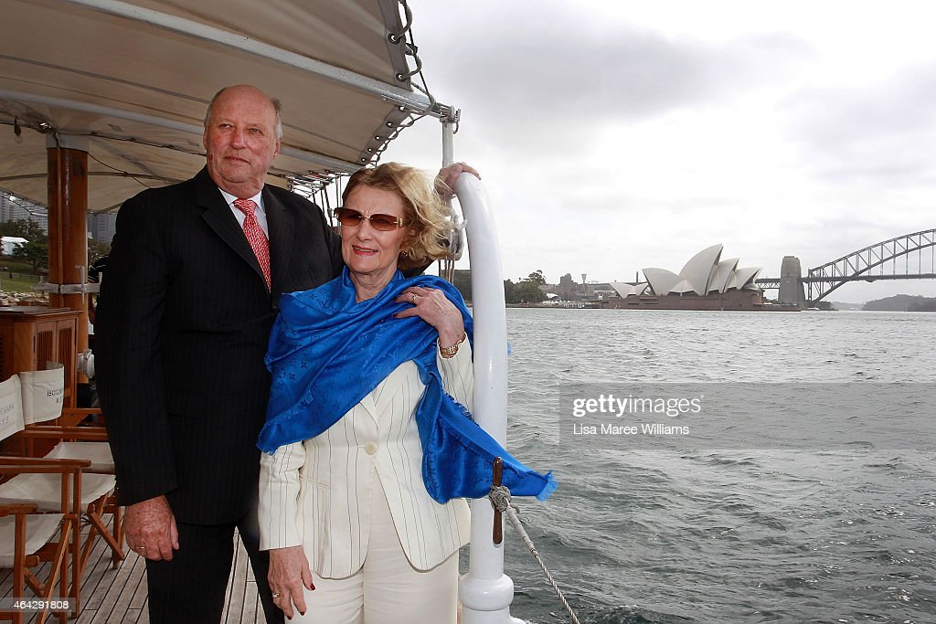 King Harald V and Queen Sonja of Norway travel on the 'Boomerang Sydney Heritage Fleet' on Sydney Harbour on February 24, 2015 in Sydney, Australia. The royal couple are in Australia for six days and will attend events in Canberra, Sydney and Perth.