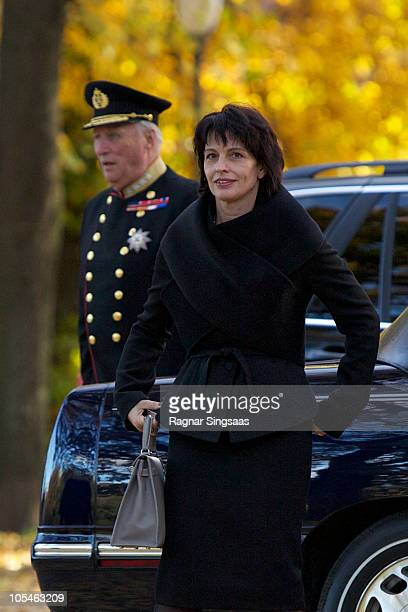 King Harald V of Norway and Doris Leuthard arrive at the Swiss Design Exhibition at 'The Norwegian Centre for Design and Architecture' upon the...