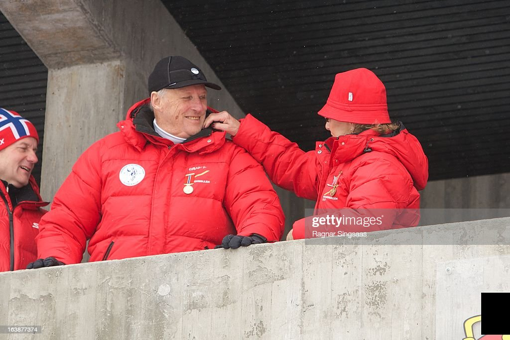 King Harald V of Norway and Queen Sonja of Norway attend FIS World Cup Nordic Holmenkollen 2013 on March 17, 2013 in Oslo, Norway.