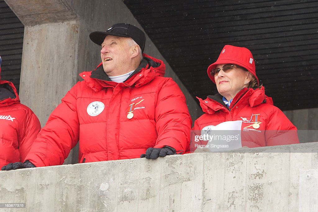 King Harald V of Norway and <a gi-track='captionPersonalityLinkClicked' href=/galleries/search?phrase=Queen+Sonja+of+Norway&family=editorial&specificpeople=160334 ng-click='$event.stopPropagation()'>Queen Sonja of Norway</a> attend FIS World Cup Nordic Holmenkollen 2013 on March 17, 2013 in Oslo, Norway.