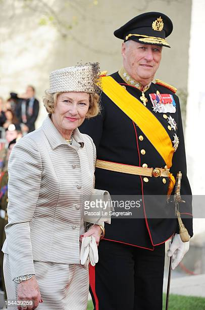 King Harald V of Norway and Queen Sonja of Norway attend the wedding ceremony of Prince Guillaume Of Luxembourg and Princess Stephanie of Luxembourg...