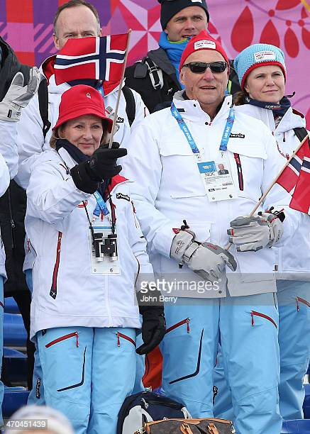 King Harald V of Norway and Queen Sonja of Norway cheer for Norwegian competitors during the Women's then Men's Team Sprint Classic during day 12 of...