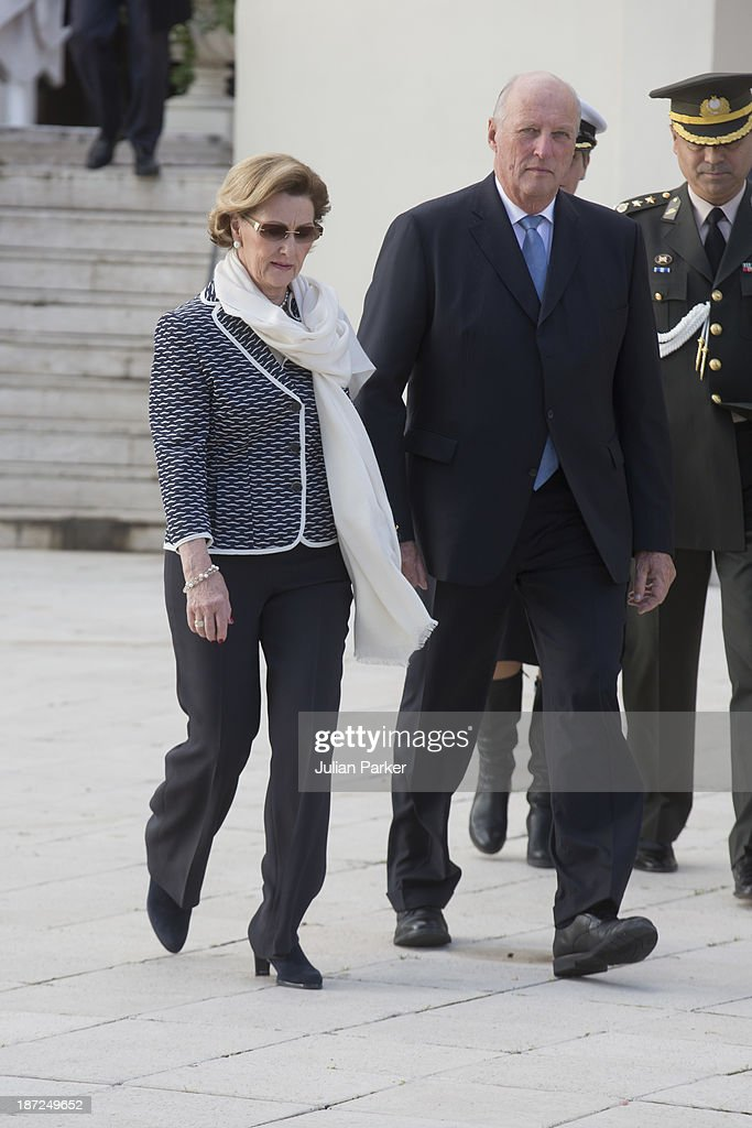 King Harald V of Norway and <a gi-track='captionPersonalityLinkClicked' href=/galleries/search?phrase=Queen+Sonja+of+Norway&family=editorial&specificpeople=160334 ng-click='$event.stopPropagation()'>Queen Sonja of Norway</a> leave The Ciragan Palace Kempinkski Hotel, for a Lunch, on day three of their State visit to Turkey on November 7, 2013 in Istanbul, Turkey.