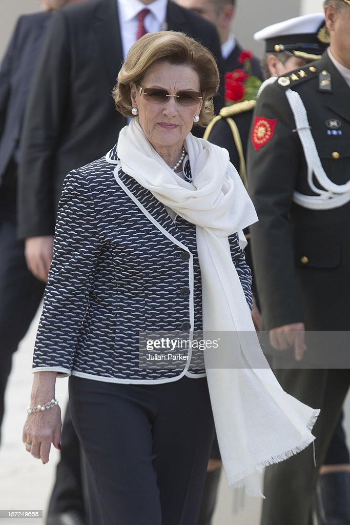 King Harald V of Norway and Queen Sonja of Norway leave The Ciragan Palace Kempinkski Hotel, for a Lunch, on day three of their State visit to Turkey on November 7, 2013 in Istanbul, Turkey.