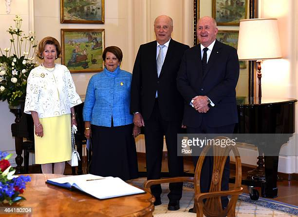 King Harald V of Norway and Queen Sonja of Norway meet with Australia's GovernorGeneral Sir Peter Cosgrove and wife Lady Lynn Gosgrove at Government...