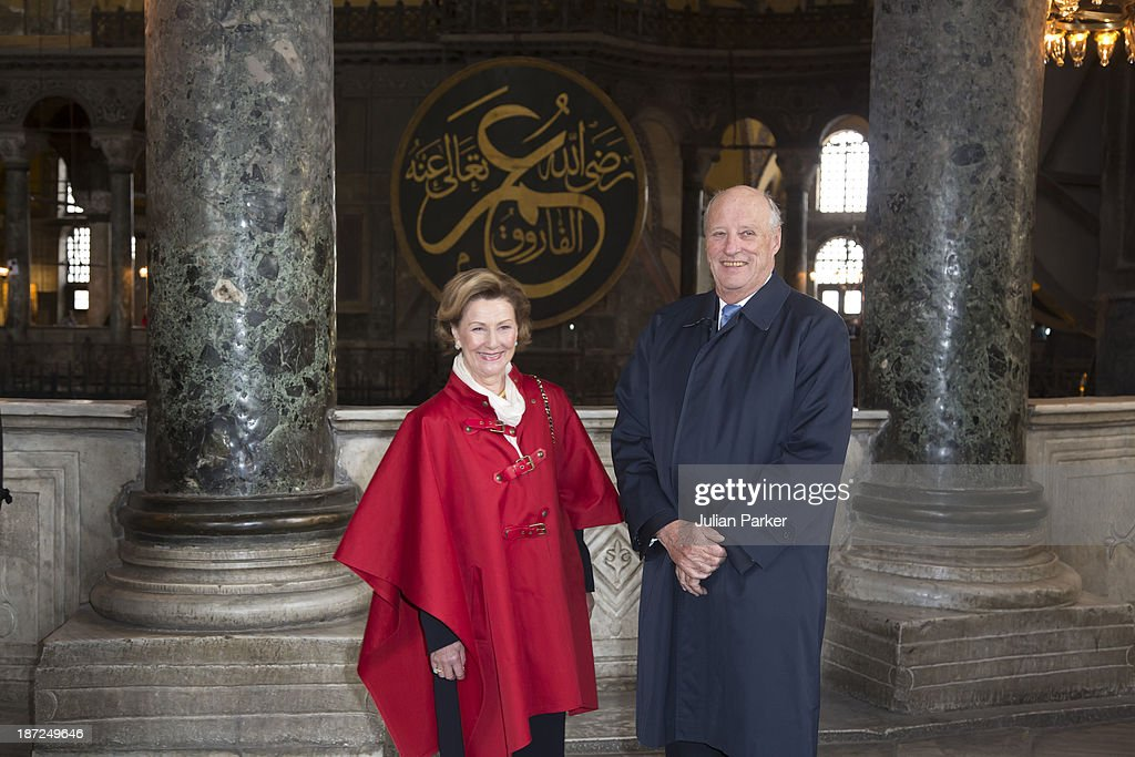 King Harald V of Norway and Queen Sonja of Norway Visit Aya Sofia Museum on day three of their State visit to Turkey on November 7, 2013 in Istanbul, Turkey.