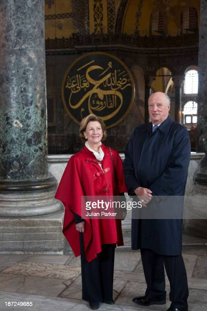 King Harald V of Norway and Queen Sonja of Norway Visit Aya Sofia Museum on day three of their State visit to Turkey on November 7 2013 in Istanbul...