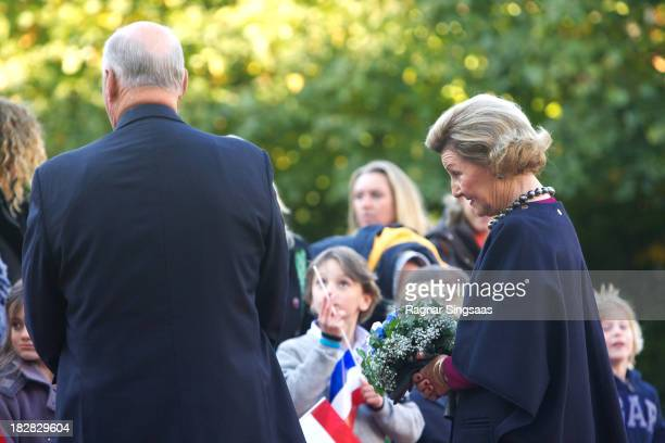 King Harald V of Norway and Queen Sonja of Norway wait for King WillemAlexander of The Netherlands and Queen Maxima of The Netherlands at the Royal...