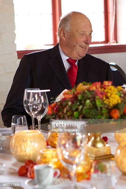 King Harald V of Norway attends luncheon at Akershus Fortress during day two of the state visit from India on October 14 2014 in Oslo Norway